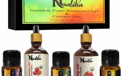 Nualoha Skin Whitening Anti Aging Facial Oils Collection- Bulgaria Lavender,Frankincense, Australian TeaTree Oil(10ML Each), Rosehip,Grapessed Oil(30ML Each)-Carrier & Essential Oils Combo Gift Set