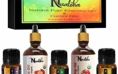 Nualoha Pure Natural Essential Oils Set For Glowing Face and Silky Long Hair -Bulgarian Lavender,Frankincense,Rosemary Oil (10 ML Each), Rosehip & Moroccan Argan Carrier Oil (30 ML Each) Gift Pack