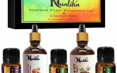 Nualoha Skin Whitening Anti Aging Facial Oils Pack- Lavender, Rosemary, Lemongrass Essential Oil (10 ML Each) and Moroccan Argan, Sweet Almond Carrier Oil (30 ML Each) For Skin, Hair, Body,Nail Care Set
